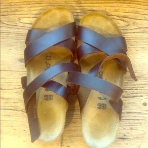 Birkenstock papillio brown leather sandals